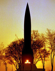 Памятник баллистической ракете ''Р-1'' на полигоне Капустин Яр