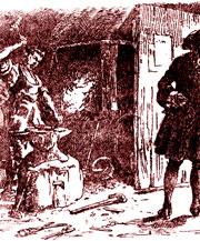 Колонисты заправляют молотом и наковальней