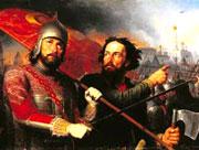 'Козьма Минин и Дмитрий Пожарский' - картина работы М. И. Скотти, 1850