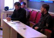 Александр Секацкий и Валерий Коровин на открытии Санкт-Петербургского отделения ЕСМ
