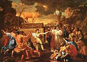 Никола Пуссен ''Поклонение золотому тельцу'', 1634, Национальная галерея, Лондон