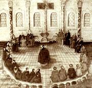 Заседание земского собора 1613 года (миниатюра из рукописи ''Избрание на царство М. Ф. Романова'' 1673)